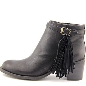 "Sam Edelman ""Jolie"" black ankle boots with fringe"